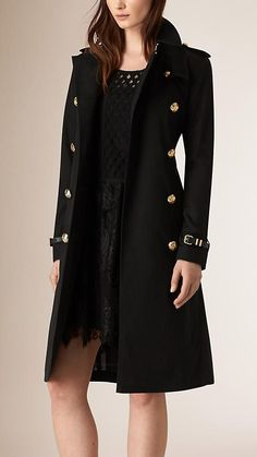 Black Military Button Cotton Gabardine Trench Coat -  Burberry