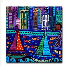 Landscape Art  Sailboats boats Saltbox Houses by HeatherGallerArt, $20.00