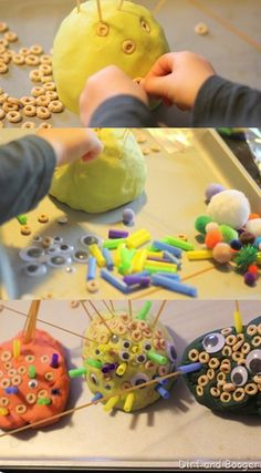Create Play Dough Monsters- kids can create their own little monsters monsters inc night Motor Activities, Sensory Activities, Sensory Play, Preschool Activities, Sensory Bins, Preschool Crafts, Crafts For Kids, Homemade Playdough, Messy Play