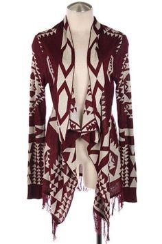 Winter New Red Tribal Aztec Print Indian Fringe Drape Cardigan Sweater s M L |