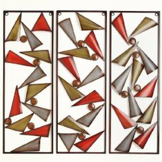 """Brylanehome 3-Piece Geometric Wall Decoration by BrylaneHome. $59.99. A BrylaneHome® Exclusive! A trio of colorful metal wall panels create one artistic design, perfect for the living room, home office or foyer. Mounting hardware included. Each: 29½""""Hx10¼""""W."""