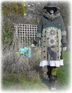 Hare Prairie Jumper Sweater Dress Folk Flowers by TheTopianDen