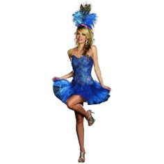 SEXY BLUE PEACOCK ENVY ADULT HALLOWEEN COSTUME FOR WOMEN #Dreamgirl #Dress