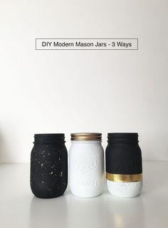 Diy Crafts Ideas     Black, white, and gold DIY Modern Mason Jars – 3 Ways from DrawntoDIY.com    -Read More –