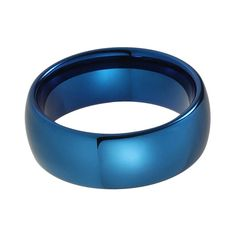 8mm Blue Plated Domed Tungsten Carbide Wedding Band for Men & Women