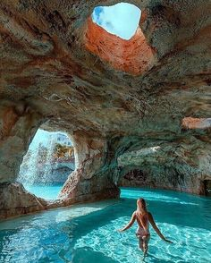 Beautiful natural cave pool in the Bahamas!😍⠀ 👉Double tap if you would swim here! Romantic Places, Beautiful Places To Travel, Cool Places To Visit, Romantic Travel, Romantic Honeymoon, Peaceful Places, Vacation Places, Dream Vacations, Vacation Spots