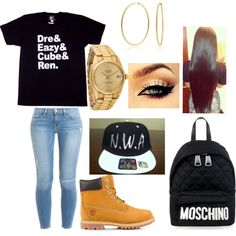 Straight Outta Compton theme by anyahjanee on Polyvore featuring polyvore fashion style Frame Denim Timberland Moschino Rolex Bling Jewelry