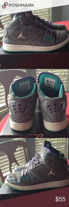 Girls Jordan 1 Flight (GS) shoes. ❤️ Girls Jordan 1 Flight (GS) in Cool Grey/Wht-Ultrvl-ATM  TL GRI/Blanc-UViolt.  Cute adorable Jordan's with some wear, but kept in excellent condition & w/ box. Jordan Shoes Athletic Shoes