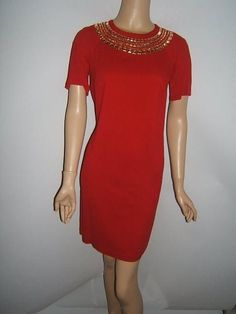 New MICHAEL KORS Small 6 SEXY RED Gold CLEOPATRA Sheath Womens Dress NWT #MichaelKors #Shift http://stores.ebay.com/Designer-Shoes-and-More?_dmd=2&_nkw=michael+kors