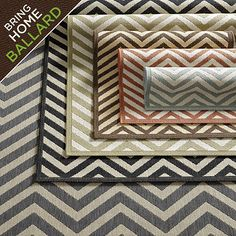 Chevron Stripe Indoor/Outdoor Rug.  Love this rug.  Not plush, but should hold up well since it is made for outdoor use.