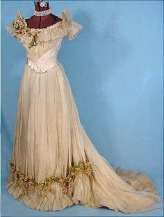 c. 1890 Wedding Gown, Ecru Silk Chiffon over Taffeta Gown Trimmed with Boughs of Wax Lilacs and Point de Venise Lace.