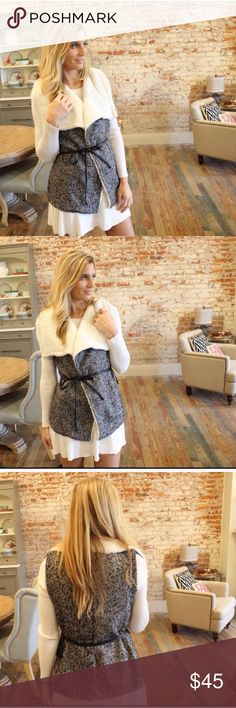 HOST PICK! 🎉❤️Black & Ivory Draped Tweed Vest BRAND NEW Ivory & Black Draped Tweed Vest. Faux Sherpa Lining. Very trendy & Versatile! Best in Outerwear Party Host Pick! 🎉🎉🎉🎉💕💕💕 Boutique Jackets & Coats Vests