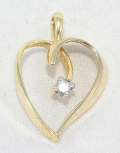 14k Solid Gold Heart Pendant Diamond Accent Love Gift Dainty Free Shipping #Pendant
