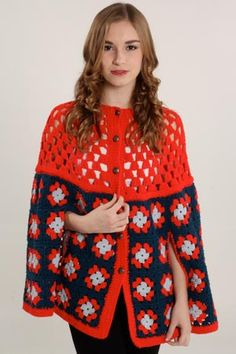 Vintage Crochet Cape= Image only Diy Crochet And Knitting, Crochet Woman, Crochet Granny, Crochet Scarves, Crochet Clothes, Baby Knitting, Crochet Jacket, Knitted Poncho, Crochet Capas