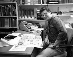 Stieg Larsson at His Work Desk Writers Desk, Writers Write, Book Writer, Book Authors, I Love Books, Great Books, Stieg Larsson, Celebrities Reading, Writers And Poets