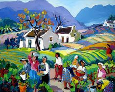 Artwork of Isabel le Roux exhibited at Robertson Art Gallery. Original art of more than 60 top South African Artists - Since South Africa Art, South African Artists, Naive Art, Landscape Paintings, Landscape Art, Bunt, Folk Art, Art Drawings, Canvas Art