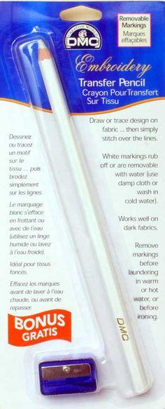 DMC Chalk Embroidery Pencil http://dmc-usa.com/Products/Accessories/Embroidery-Accessories/Transfer-Pencil.aspx