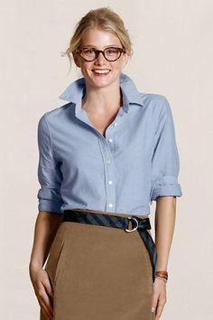 Oxford shirt , ribbon belt, and khakis