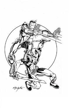 Collective Con Program Art featuring Iron Man and Deadpool Comic Art