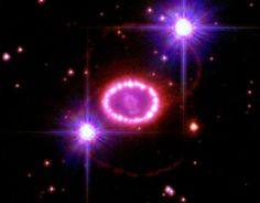 """Guts of Exploded Star Revealed -- A team of astronomers led by the University of Colorado at Boulder are charting the interactions between Supernova 1987A and a glowing gas ring encircling the supernova remnant known as the """"String of Pearls."""""""