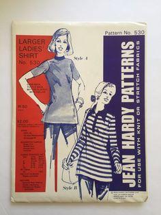 Vintage Jean Hardy Sewing Pattern 530 Larger Ladies Shirt Uncut 1974 Sizes S-XL #JeanHardyPatterns #LargerLadiesShirt