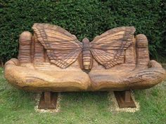 Lovely carved bench for the cabin entrance. The butterfly is the perfect focal point. I would definitely need one of these in my secrete garden! Oak Bench, Wood Benches, Bench Seat, Bench Designs, Wood Sculpture, Yard Art, Outdoor Furniture, Outdoor Decor, Log Furniture