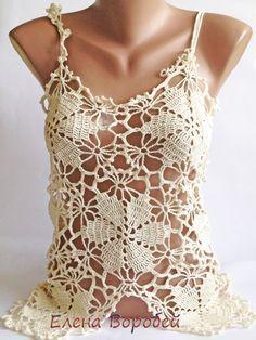 Top de encaje sexy / Crochet Top / del ganchillo por ElenaVorobey
