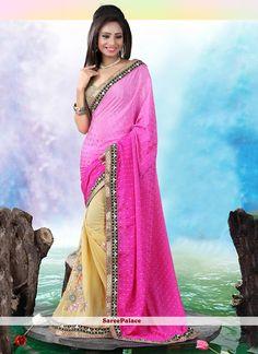 Aristocratic Hot Pink Jacquard Designer Saree