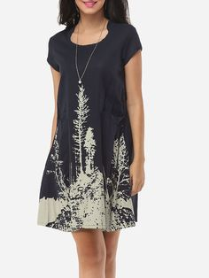 Round Neck Blended Printed Shift Dress - fashionme.com