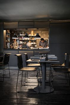 Industrial style #kitchen # design featuring our Metropolitian #chairs in full black. Dark Horse, Restaurant Design, Industrial Style, Modern Furniture, Kitchen Design, Chairs, Black, Home Decor, Decoration Home