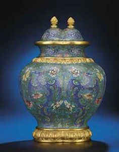 A MAGNIFICENT IMPERIAL CLOISONNE ENAMEL DOUBLE-VASE AND COVERhttp://www.christies.com  QIANLONG PERIOD (1736-1795)