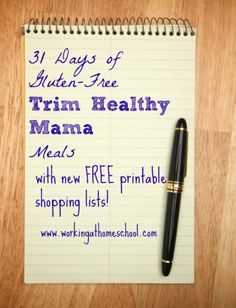 31 days of Gluten-Free Trim Healthy Mama Meals with free printable shopping lists