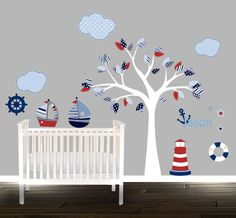 Jungen Kinderzimmer Wand Aufkleber set, nautische Wandtattoo, Segeln Wolken Kinderzimmer Aufkleber, Leuchtturm-Aufkleber, Abziehbilder, personalisierte Namen