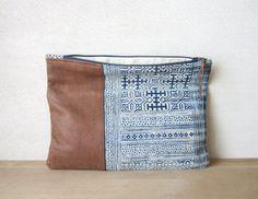 Fold Over Clutch Bag Vintage Batik and door ImprintsandIndigo
