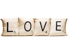 We can make these ourselvs, Set of 4 SCRABBLE LETTER decorative pillow cases cushion covers -- LOVE or choose any 4 letters