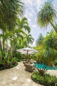 Outdoor Oasis | 2018 HGTV Ultimate Outdoor Awards | HGTV Tropical Backyard Landscaping, Tropical Garden Design, Florida Landscaping, Small Backyard Gardens, Backyard Pergola, Tropical Patio, Sloped Backyard, Tropical Gardens, Pergola Roof