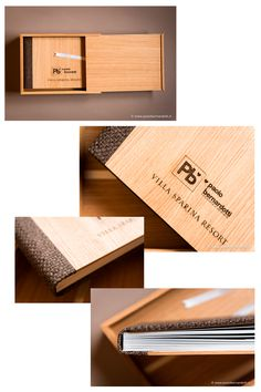 Personalized sample for Villa Sparina Resort - Cover: Light Brown Oak (Natural Wood) with laser incision of both logos - Back and spine: Interwoven Brown - Box: Light Brown Oak (Natural Wood) - Ribbon: White. Album created by Graphistudio for Paolo Bernardotti Studio.