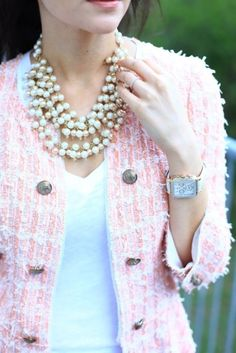 Preppy tweed and pearls