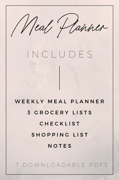 Printable Meal Planner: weekly meal planner, 3 grocery lists, shopping list, checklist, and notes.