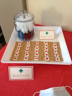 "Jello ""Injections"" and Graham Cracker ""Bandaids"" at my Nursing Graduation Party! Jello ""Injections"" and Graham Cracker ""Bandaids"" at my Nursing Graduation Party! Nurse Party, College Graduation Parties, Nursing School Graduation, Graduation Party Decor, Retirement Parties, School Parties, Graduate School, Graduation Ideas, Nursing Schools"