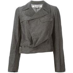 Comme Des Garçons Comme Des Garçons Cropped Biker Jacket (£215) ❤ liked on Polyvore featuring outerwear, jackets, grey biker jacket, gray jacket, wool blend jacket, gray moto jacket and biker jacket