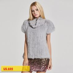 Fur Story 17211 Womens Knitted Real Rabbit Fur Vest Pullover Solid Female Fashion Warm Coat