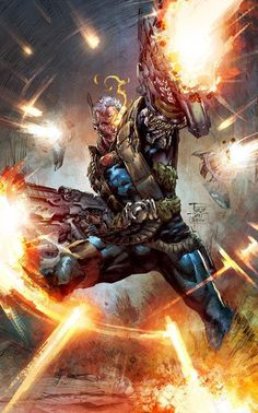 Cable lines by Philip Tan and explosions from Wayne Beeweijoe - Niche United States Comic Book Artists, Comic Book Characters, Marvel Characters, Comic Character, Comic Books Art, Comic Art, Arte Dc Comics, Marvel Comics Art, Marvel X