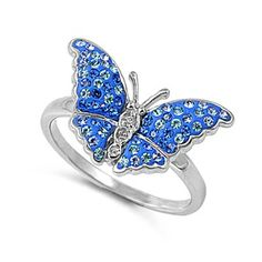 Sterling Silver Blue And Clear CZ Butterfly Ring Butterfly Ring, Butterfly Jewelry, Blue Topaz, Blue Sapphire, Blue Rings, Silver Rings, Cuff Bracelets, Gems, Sterling Silver