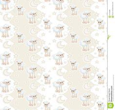 Seamless pattern with cartoon sleepy baby sheep