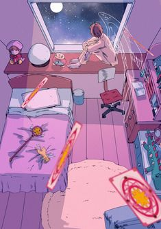 Really cute fanart!🌸 Sakura's room honestly looks very cute! Cardcaptor Sakura, Kero Sakura, Syaoran, Aesthetic Anime, Aesthetic Art, Sakura Card Captors, Clear Card, Kawaii Wallpaper, Magical Girl