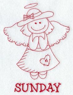Heavenly Angel on Sunday (Embroidery Redwork) Christmas Embroidery, Hand Embroidery Patterns, Embroidery Applique, Cross Stitch Embroidery, Machine Embroidery Designs, Quilting, Embroidered Quilts, Monochrom, Embroidery Techniques