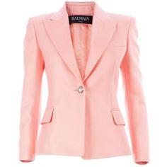 BALMAIN button front blazer ($1,255) ❤ liked on Polyvore featuring outerwear, jackets, blazers, blazer, coats, pink, balmain blazer, pink jacket, blazer jacket and balmain jacket