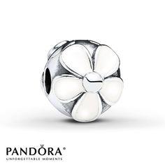 Pandora Daisy Clip White Enamel Sterling Silver