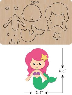 Details about new mermaid wooden die thick 15 cutting dies scrapbooking c 83 5 Baby Mermaid, Mermaid Birthday, Ariel Mermaid, Felt Doll Patterns, Felt Animal Patterns, Sewing Crafts, Sewing Projects, Bow Template, Templates